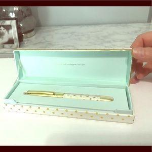 Kate Spade gold and white dot ballpoint pen